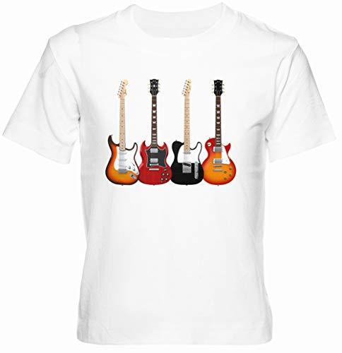 Cuatro Eléctrico Guitarras Blanco Unisexo Niño Niña Camiseta Manga Corta Tamaño XL...