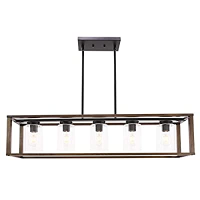 VINLUZ 1- Light Square Pendant Lamp Natural Wooden Frame with Clear Glass Shade Farmhouse Kitchen Island Lighting Black Dark Walnut Rustic Light Fixture Hanging for Dining Rooms Hallway
