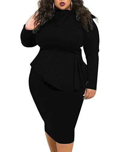 Black Peplum Dresses for Women Plus Size Business Patchwork Bodycon Church Formal Funeral Midi Dress Spring 2020 4X