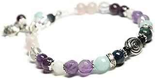 Swirl Fertility and Pregnancy Bracelet Featuring Natural Gemstones Rose Quartz, Amethyst, Chrysocolla, Black Onyx, Moonstone, Amazonite, Crystal Healing Jewelry