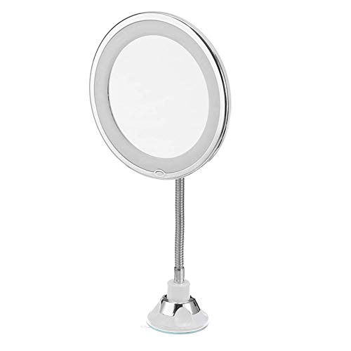 Asffdhley Espejo de maquillaje 5x aumento LED iluminado espejo de maquillaje Flexibilidad iluminado 360 Rotación de Maquillaje