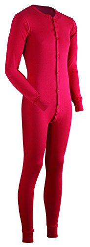 ColdPruf Men's Dual Layer Long Sleeve Union Suit, Red, Large