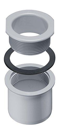 INEFA Ablaufstutzen Schraubstutze DN 50 Grau - Dachrinne, Rinne zu Fallrohr, Kunststoff, Kastenrinne, Regenrinne - eckig - Kastenförmig NW 68