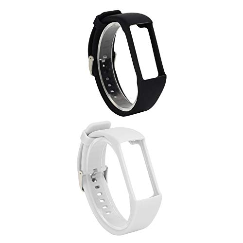 Essenc 2Pcs Silicone Watchband for Polar A360 A370 Wristband Silicone Wriststrap Smart Bracelet Replacement for Polar Fitness Tracker, Black & White