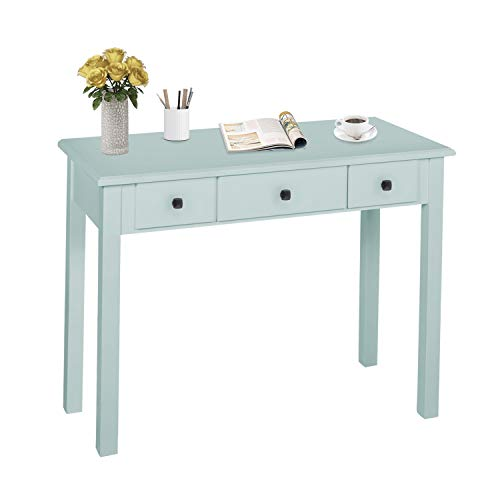 Home Office Small Writing Desk with Drawers Bedroom, Study Table for Adults/Student, Vanity Makeup Dressing Table Save Space Gifts Green (Light Green)