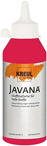 Kreul 91305 Javana Stoffmalfarbe für helle Stoffe, geschmeidige Farbe auf Wasserbasis mit cremigem Charakter, 250 ml Flasche, karminrot