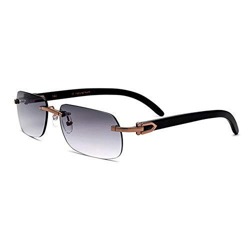 Raxinbang Gafas de Sol Material De Cuerno Marrón Gafas De Sol De Gama Alta Gafas Hombres Sin Borde UV400 Hecho A Mano Protección Gris Lente