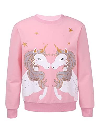 dPois Camiseta Manga Larga para Niña Sudadera de Unicornios Cuello Redondo Jersey Sudadera Deportiva con Algodón Top Casual Niña (3-16 Años) Rosa 9-10 años