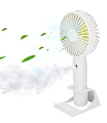 Misting Personal Fan, DeepDream Mini Handheld Fan, Small Portable Spray Fan Speed Adjustable, USB Desk Colorful Nightlight Fan for Kids Girls Woman Man Home Office Outdoor Travel (White)