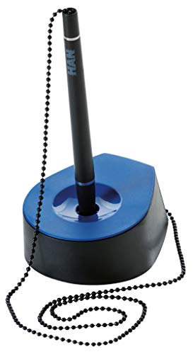 HAN 1770-34 Salsa - Soporte para bolígrafo con cadena, fabricado en poliestireno, 59 x 150 mm, color negro y azul