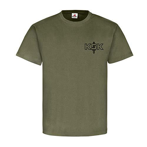 KSK ' WIR Machen Hausbesuche ' Kommando Spezialkräfte Bundeswehr T Shirt #14072, Größe:L, Farbe:Oliv