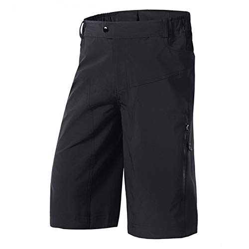 Pantalones Cortos De Running Ropa MTB Hombre, Descenso Bicicleta Montaña Impermeables Transpirables, Ropa Holgada Ciclismo Aire Libre Bolsillos Cremallera,Negro,M