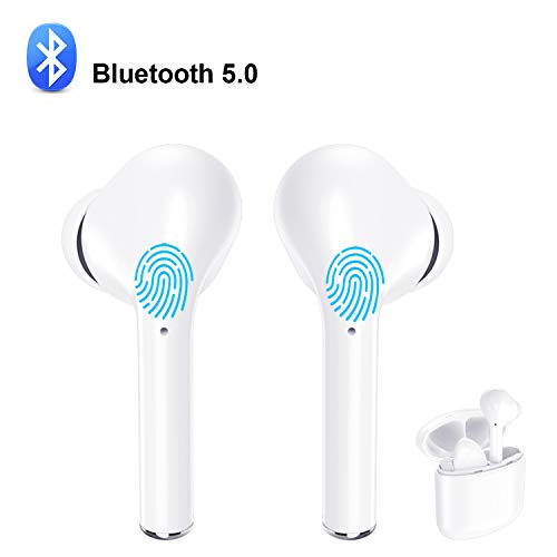 True Wireless Earbuds Bluetooth V5.0 Headphones Waterproof in-Ear Earphones Noise Cancelling HD Stereo Sweatproof Headsets Smart Touch for Kids and Adults Sport Running Driving Workout Gym