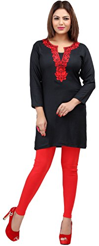 Indian Kurti Top Tunic Embroidered Women's India Clothes (Black/Red, L)