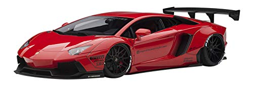 Aventador LB-Works Red with Black Wheels 1/18 Model Car by Autoart 79108