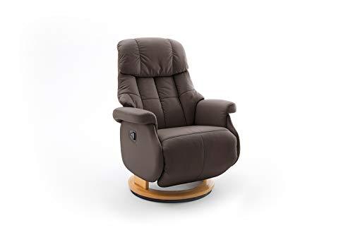 lifestyle4living Relaxsessel in Braun, Echtleder, Gestell 360° drehbar Natur Braun | Perfekter Sessel mit Relaxfunktion für entspannte Fernseh-Abende
