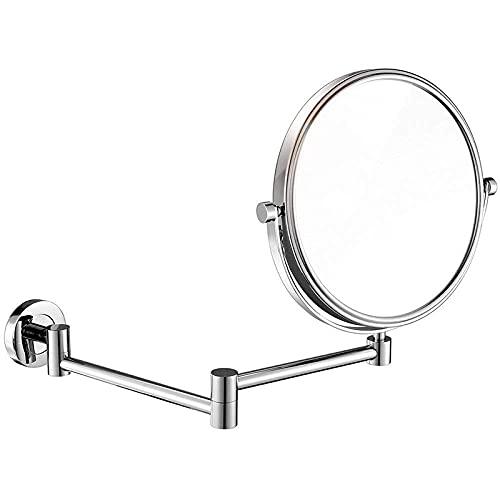 NHLBD LIHAIHAI Beautiful Fashion Montaje de Pared de Espejo de Maquillaje, Espejo de tocador 360 Espejo cosmético Giratorio Dobles Cara Extensible de Afeitado Redondo en Dormitorio