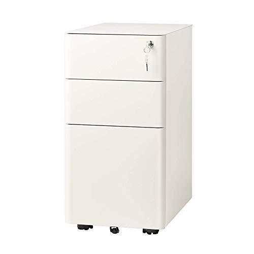 DEVAISE Metall Rollcontainer Aktenschränke Büro-Rollcontainer Bürocontainer mit 3 Schublade; Mobilen, Abschließbar, 30cm B x 45cm T x 59cm H,Weiß
