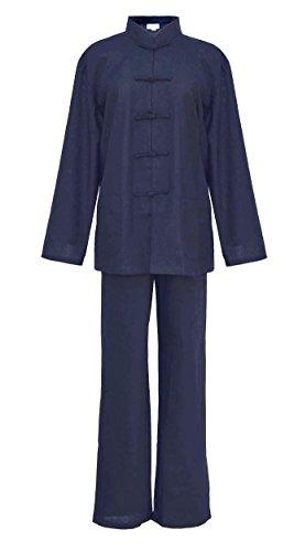 Laciteinterdite Mujer Tai chi Uniforme Artes marciale, Ropa Traje de Kung fu y Qi Gong de algodón y Lino Azul M