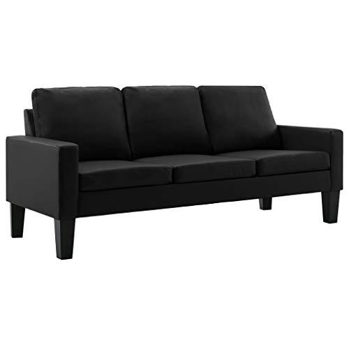 vidaXL Sofa 3-Sitzer Couch Polstersofa Loungesofa Ledersofa Sitzmöbel Wohnzimmersofa Designsofa Polstermöbel Schwarz Kunstleder Holzrahmen