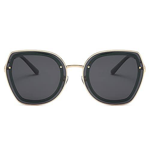Gosunfly Gafas de sol de metal para hombres y mujeres, moda europea y americana, gafas de sol con personalidad de conducción polarizadas, gafas de sol, montura dorada sobre polvo azul