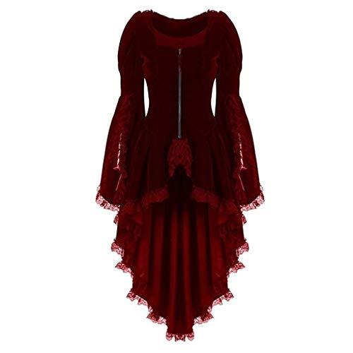 terbklf Women's Gothic Tailcoat Steampunk Lace Trim Velvet Coat Tuxedo Suit Coat Victorian Costume Jacket with Tails Red