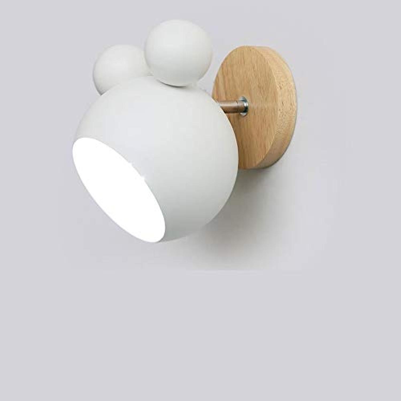 Nordische wandleuchte moderne niedliche schlafzimmer nachtwandlampe wandleuchte lampe holz lampe schmiedeeisen dekoration kinderzimmer studierlampe, wei