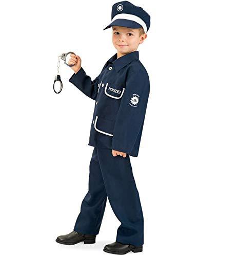 KarnevalsTeufel Kinderkostüm Polizist Petersen 2-TLG. mit Mütze Polizei-Uniform dunkelblau, Fasching, Karneval, Mottoparty (128)