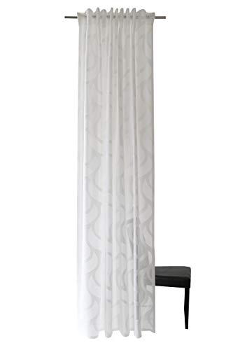 Homing halbtransparenter Vorhang mit verdeckten Schlaufen, Weiß, 1 Stück, H x B: 245 cm x 140 cm, 5433-11, weiss, 245 x 140 cm