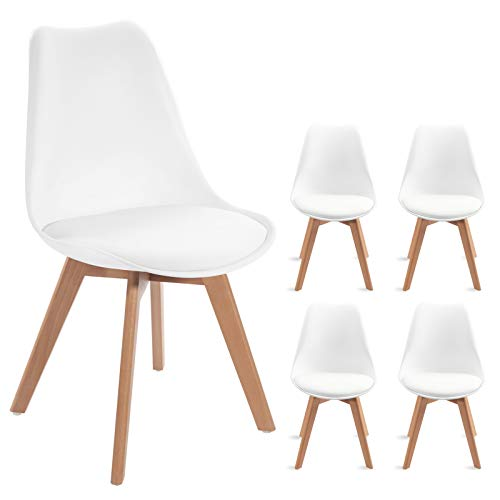 Waleaf Set of 4 Modern Dining Chair, DSW Side Chair with Soft Cushion, Eames Style Chair Armless Chair with Natural Wood Legs, Shell Lounge Plastic Chair for Bedroom, Living and Dining Room(White)