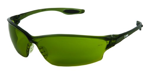 Crews LW2130 Law 2 Polycarbonate Green filter 3.0 Lens Safety Glasses with Bayonet Temple, 12-Pair