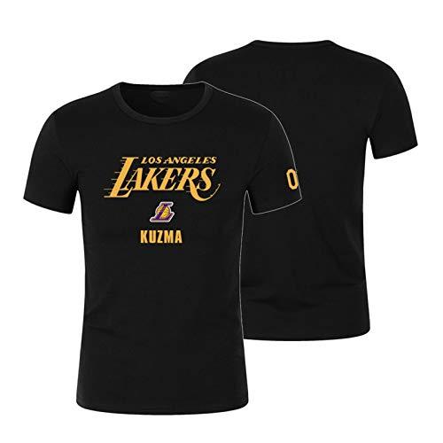 WXFO Camiseta conmemorativa de baloncesto de los Lakers para hombre, casual y suelta, camiseta deportiva con canasta de baloncesto, regalo divertido, regalo leal Fans Don't miss It negro, 1-XL