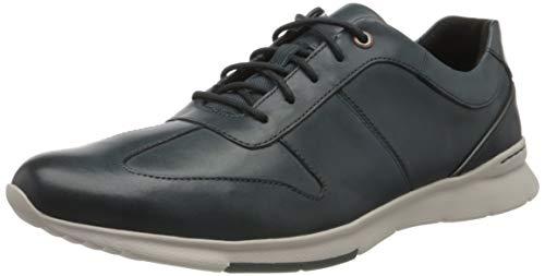 Clarks Un Tynamo Tie, Zapatos de Cordones Brogue para Hombre, Azul (Dark Blue Lea Dark Blue Lea), 42 EU