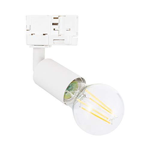 LEDKIA LIGHTING Foco Portalámparas de Carril Trifásico para Bombilla E27 Casquillo Gordo Blanco