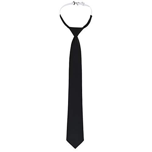 DESERMO Verstellbare Security Krawatte schwarz mit Gummizug Sicherheitskrawatte mit vorgebundenen Knoten I Schlips für Sicherheit, Service & Gastronomie