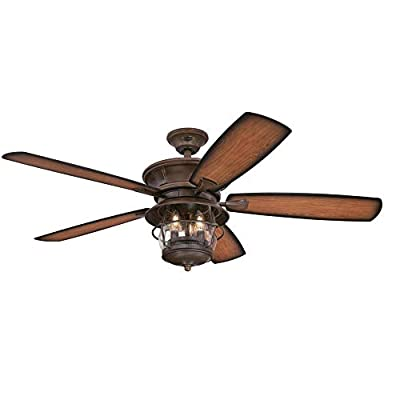 Westinghouse Lighting 7800000 Brentford 52-Inch Aged Walnut Indoor/Outdoor Ceiling Fan, Light Kit with Clear Seeded Glass, 1 Finish