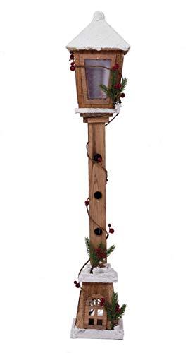 LED Holz Laterne 81 cm - Deko Wegleuchte mit 15 LED - Weihnachtsdeko Stehlampe