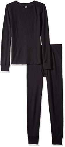 Fruit of the Loom Boys' Soft Waffle Thermal Underwear Set, Black/Black, 14/16