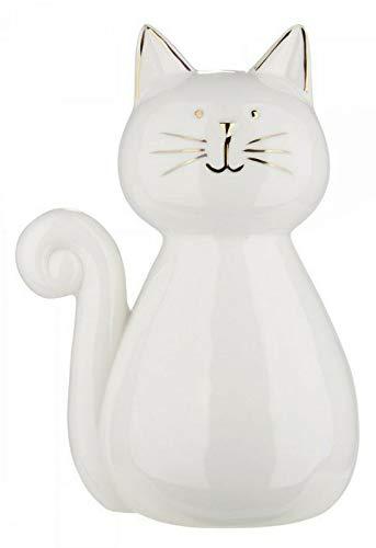GILDE Katze Katzenfigur Katzenskulptur Skulptur aus Porzellan Deko Weiß HxB 12x10 cm