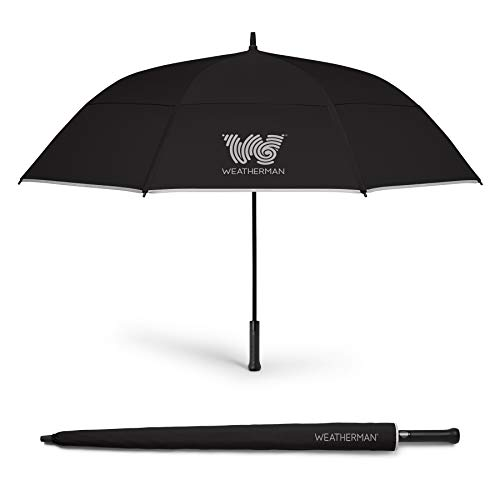 The Weatherman Umbrella - Golf Umbrella - Windproof Sports Umbrella Resists Up to 55 MPH - Available in 2 Sizes and 5 Colors (68 inch, Black)