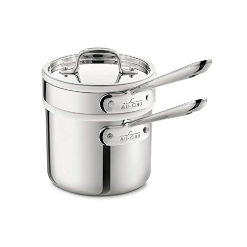 All-Clad 42025 Stainless Steel 3-Ply Bonded Dishwasher Safe Sauce Pan with Porcelain Double Boiler and Cookware Lid, 2-Quart, Silver - 8400000266