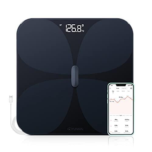 YUNMAI Pro Bilancia Pesapersone Digitale, Bilance Intelligenti Bluetooth con Batteria Ricaricabile USB Misurazione Integrata con 10 Indici di Massa Grassa, BMI, Massa Muscolare, Proteine 180 kg, Nero