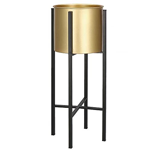 SPRINGOS Soporte para macetas Loft Design de metal, 4 patas, soporte para plantas, 2 piezas (negro)