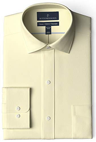 Amazon Brand - Buttoned Down Men's Classic-Fit Spread Collar Pinpoint Non-Iron Dress Shirt, Light Yellow, 14.5