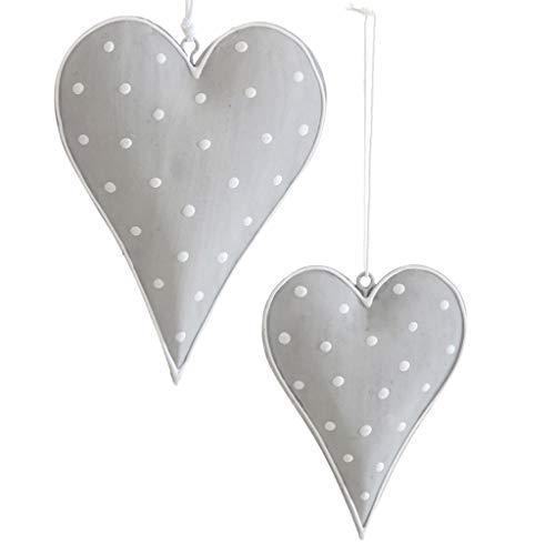 Metallherzen Herzen zum Aufhängen - Herzanhänger aus Metall - Dekoherzen - Dekoration - Vintage - Shabby Chic - 1 VE = 2 Stück - ca.9.5 x 13 cm - Grau mit weißen Punkten - AD68375