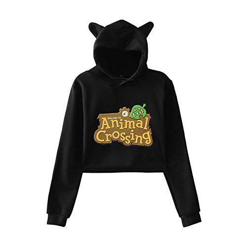 Langarm Bedruckter Hoodie Für Damen Animal Crossing Cat Ear Sweatshirt Kurzes Oberteil (XXS-XXL)