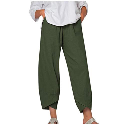 Dasongff Pantalones de lino para mujer, para el tiempo libre, para verano, estilo harén, holgados, cómodos, para la playa, para correr, para hacer yoga