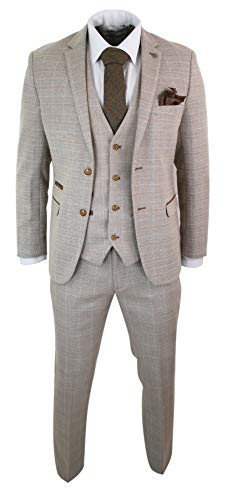 Paul Andrew Herrenanzug 3 Teilig Beige Vintage Retro Klassisch Tweed Design
