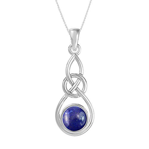 Natural Lapis 925 Sterling Silver Celtic Knot Pendant Necklace with 18 Inches Chain