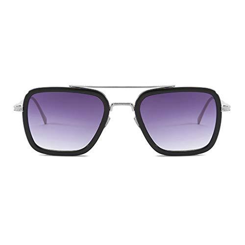 Deliu Gafas de Sol Europa y Estados Unidos Caja con Las Gafas Trend Montura Plateada Tipo 2